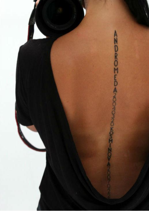 tatuering på ryggraden